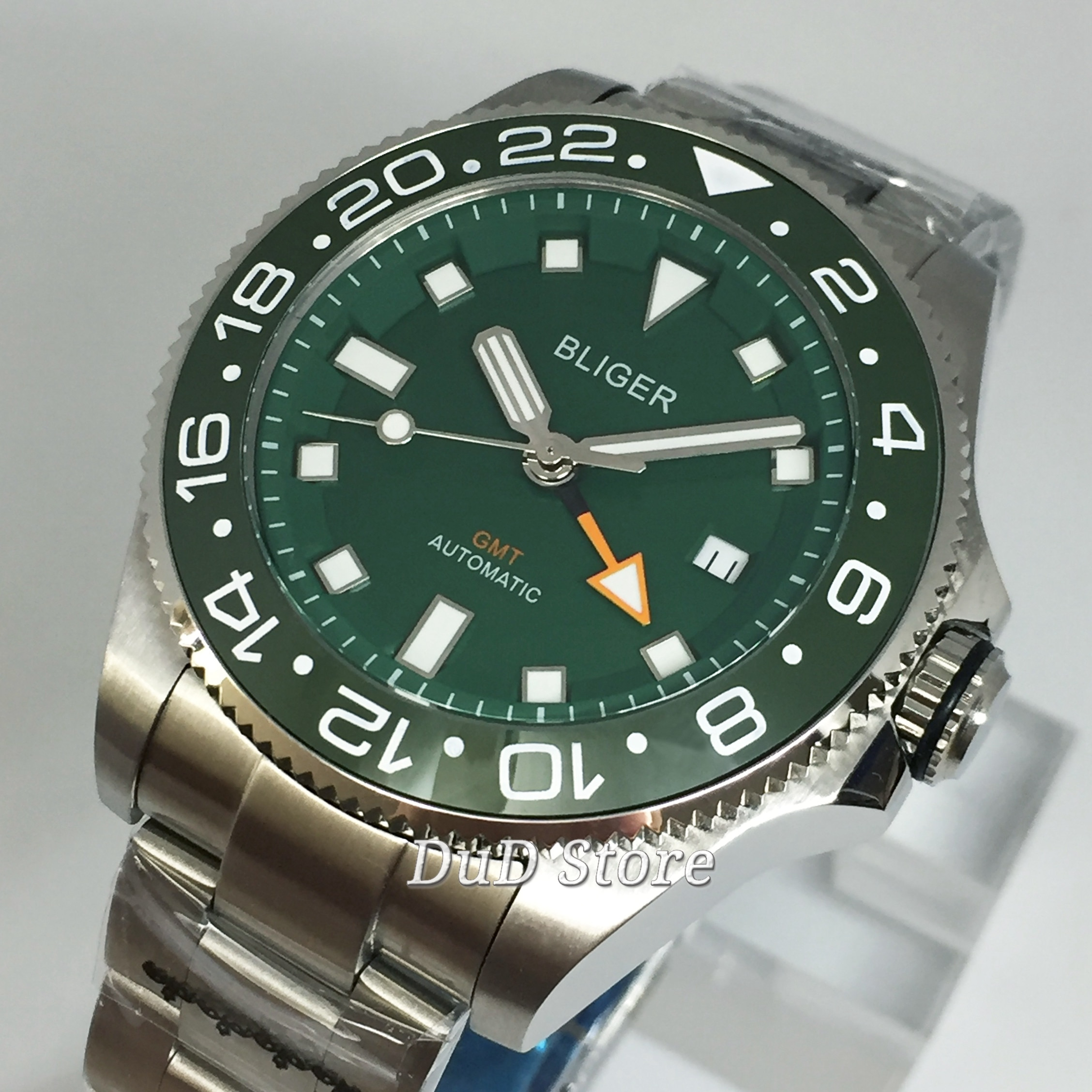 Bliger 43mm carcasa plateada superior de lujo mecánico reloj con cristal de zafiro dial verde bisel de cerámica luminoso reloj automático GMT para hombres