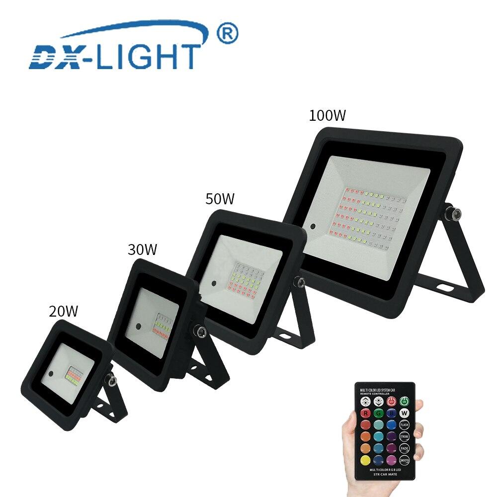 Led Spotlight Outdoor RGB Flood Light 20W 30W 50W 100W Reflector Projector Lamp 110V/220V RGB Floodlight IP68 Landscape lighting