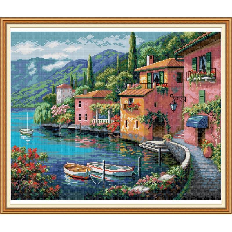 Casa colorida por el agua decoración de pintura del Hogar cuenta impresión en lienzo Kit de punto de cruz DIY DMC 11/14 ct bordado conjunto de costura