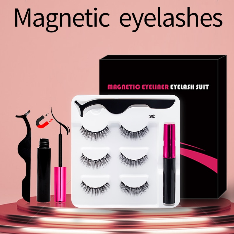 3 paires de Faux Cils magnétiques en vison faits à la main, Eyeliner magnétique, ensemble de maquillage de beauté, Faux Cils courts sans colle