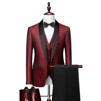 2021 بدلة سهرة رجالية مصممة خصيصا للزفاف لون عنابي بدلة سهرة 3 قطع بدلة العريس للحفلات الراقصة جاكت بليزر Terno Masculino