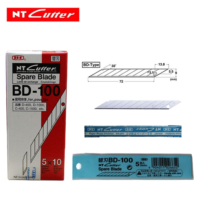 japan nt cutter spare replacement blade bd 100 small art blade 9mm 30 degrees 50blades pack for d 400 d 1000 c 400 c 1500 NT BD-100 Japan cutter Spare Replacement Blade small art blade 9mm 30 degrees 50blades/Pack professionnel blade