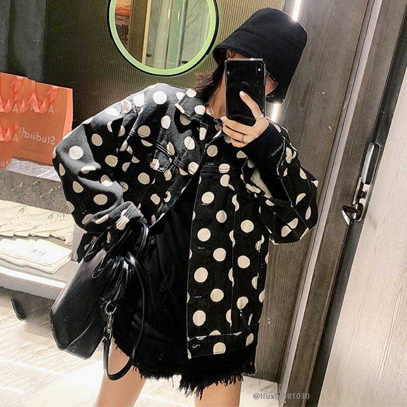Chaqueta vaquera suelta de otoño para mujer, chaqueta Bomber Harajuku, ropa de calle, chaqueta vaquera negra de lunares, chaqueta estampada para mujer, chaqueta NZY172