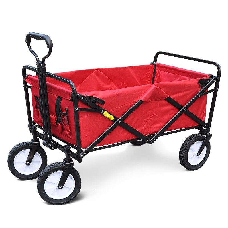 Carrito Pastoral portátil plegable de cuatro ruedas para camping al aire libre, supermercado, furgoneta, carrito de compras, carrito de empuje para el hogar