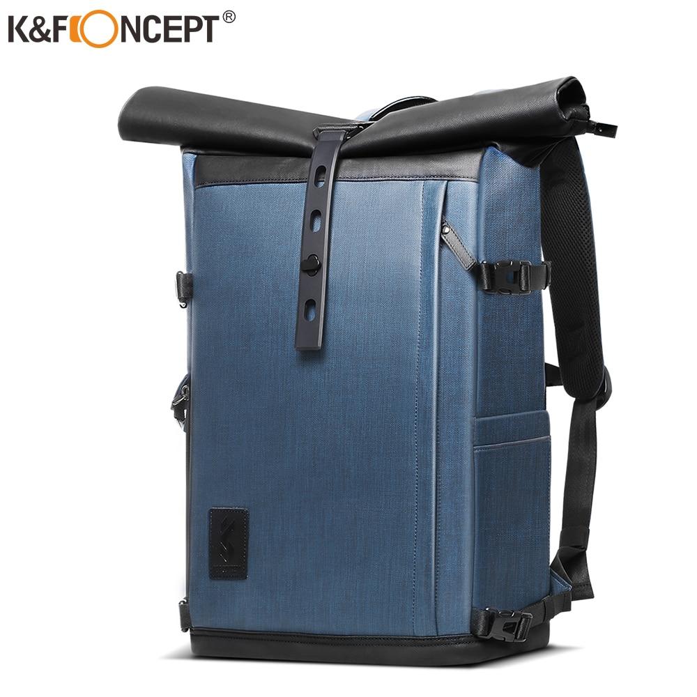 K & F مفهوم 17.7 بوصة حقيبة الكاميرا حقيبة التصوير مقاوم للماء ل DSLR عدسة الكاميرا حقيبة لابتوب مع غطاء للمطر ترايبود عقد
