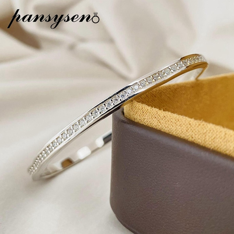 Promo PANSYSEN Classic Real 925 Sterling Silver Charm Bangles for Women Men Simulated Moissanite Diamond Fine Jewelry Gift Wholesale