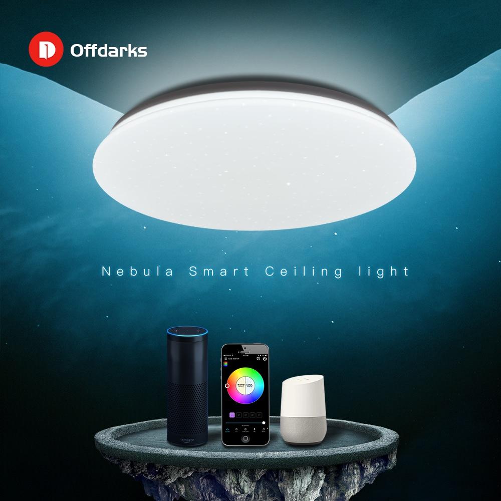 OFFDARKS الحديثة LED الذكية ضوء السقف 48 واط WiFi / APP الذكية ملون للتحكم يعتم غرفة نوم المطبخ مصباح السقف 220 فولت/التيار المتناوب