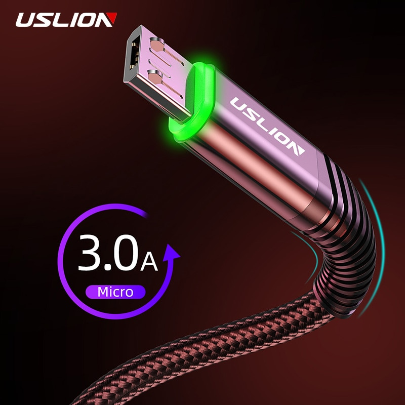 USLION 3A LED Micro USB Cable Fast Charging Micro usb Charger Support Data Transmission For Samsung Cord Android Mobile Phone