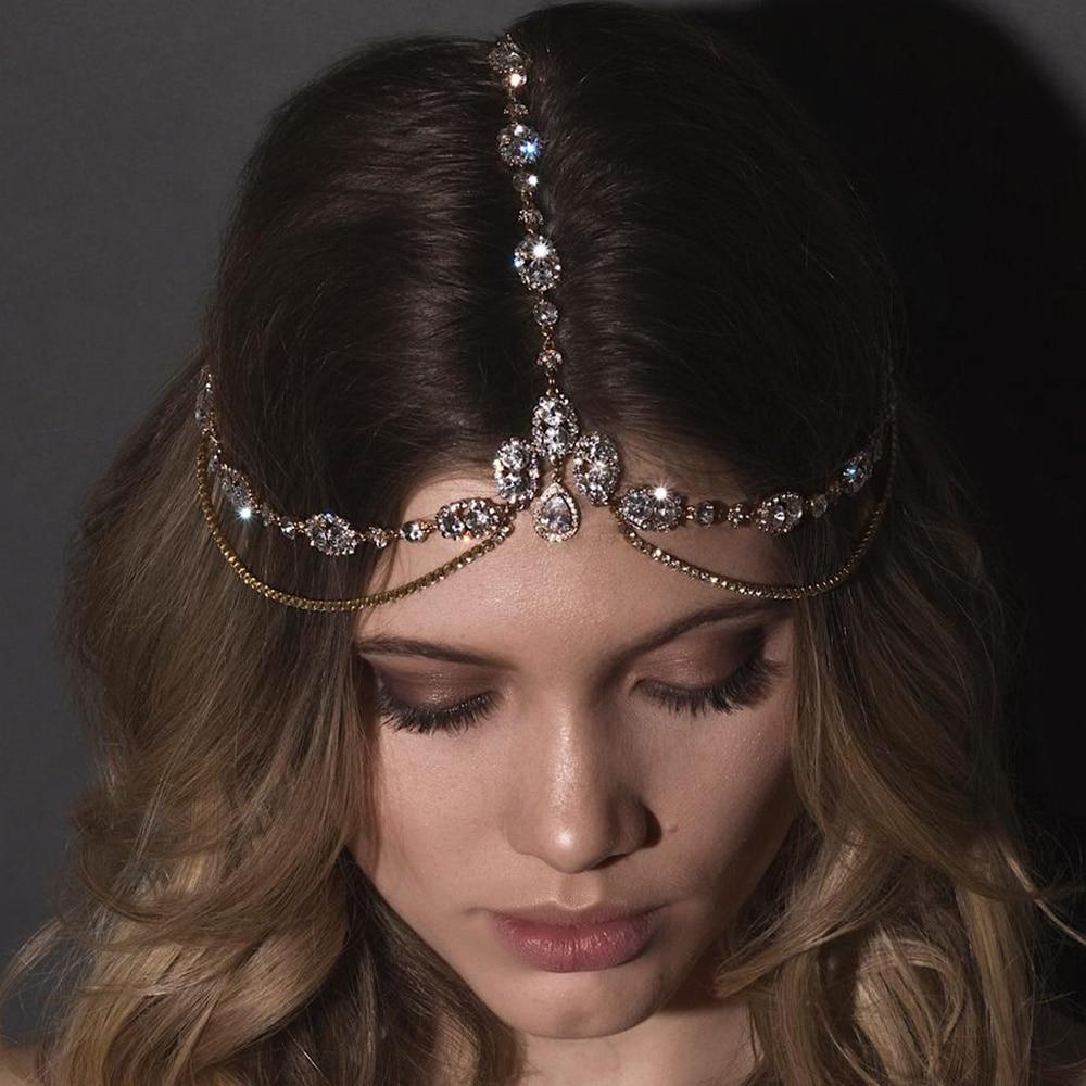 Crystal Forehead Headband Wedding Bridal Hair Chain Headpiece for Women Rhinestone Waterdrop Head Chain Headwear Hair Jewelry