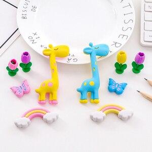 5pcs/lot cute Cartoon Giraffe Rainbow Flower Eraser Rubber student Gift Pencil Writing Supplies  School stationery