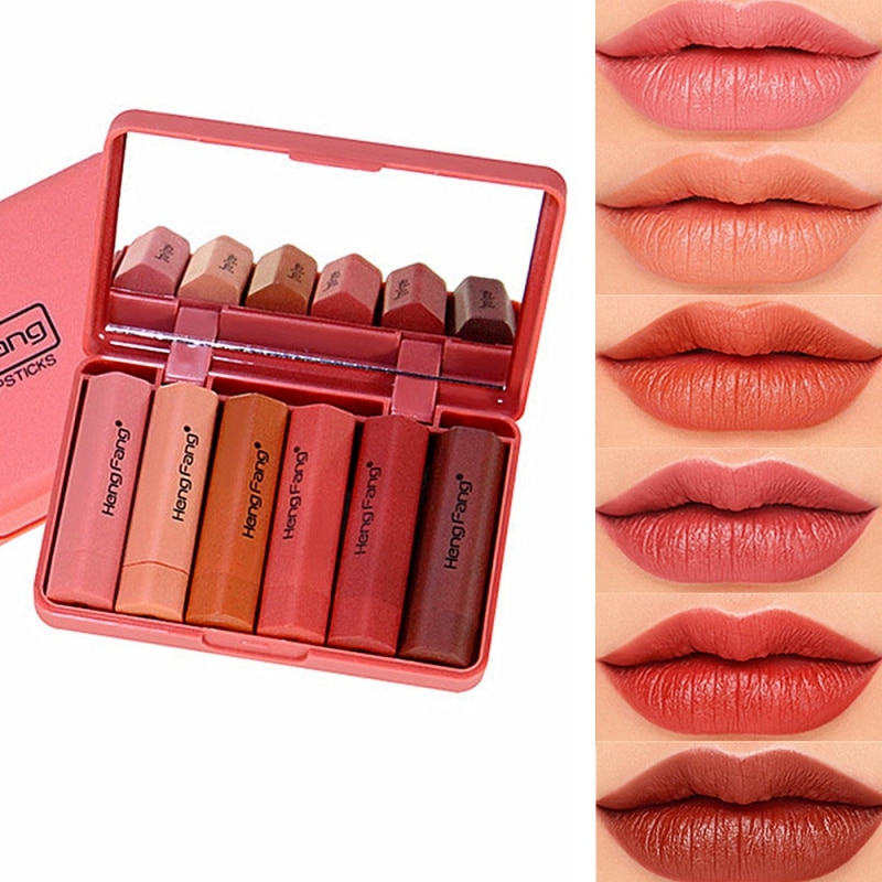 HengFang marke Heißer verkauf 6 teile/satz matte lippenstift wasserdichte langlebige lip kit make-up set Pigment Samt