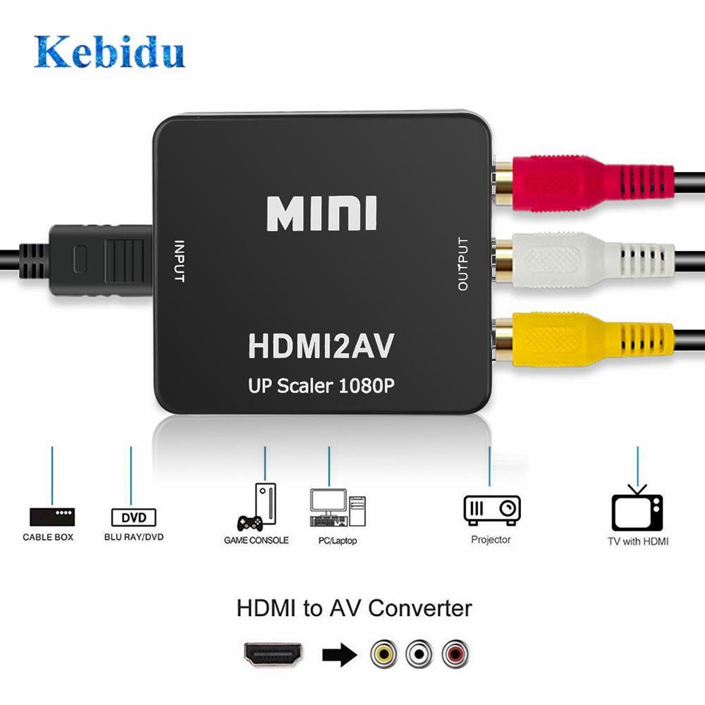 KEBIDU מכירה לוהטת HDMI ל-rca AV/CVBS מתאם HD 1080P מיני HDMI2AV וידאו ממיר תיבת עבור PS3 וידאו DVD PALMTSC מחשב