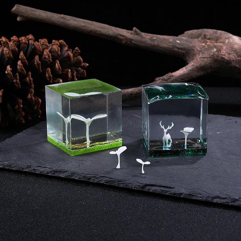 3D Micro paisaje forma de brote cosas para Resina epoxi DIY Craft rellenos Mini Burgeon película hecha a mano decoración de flores secas