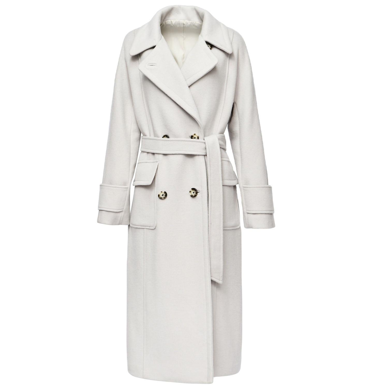 Women double sided light grey fashion wool cashmere overcoats winter woolen jackets high end long handmade outwear plus size