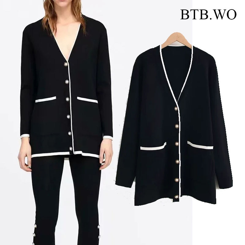 BTB.WO ZA-كارديجان نسائي محبوك عتيق بأكمام طويلة وياقة على شكل V ، ملابس خارجية أنيقة وفضفاضة بصدر واحد