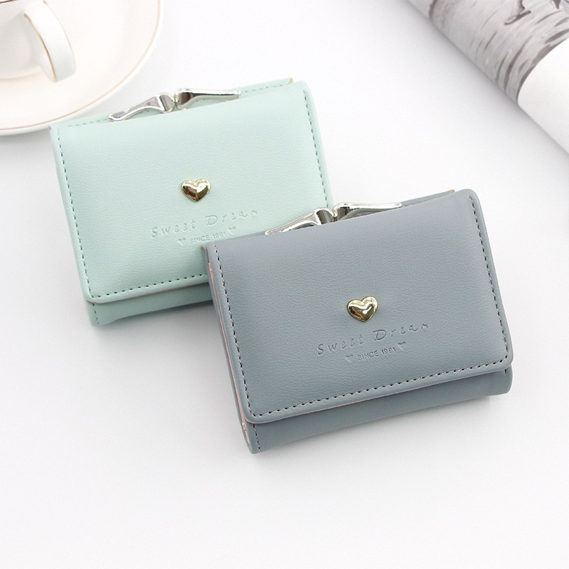 Candy Color Fashion Women Coin Purse Leather Solid Color Vintage Short Wallet Heart Hasp Ladies Girl