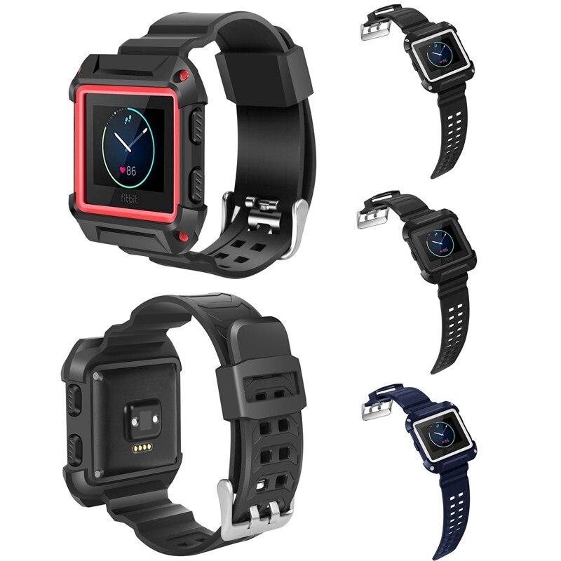 Pulseira de Relógio de Borracha de Silicone Grande à Prova de Choque Case de Quadro Fino com Faixas de Cinta para Fitbit Blaze Bandas Protetor