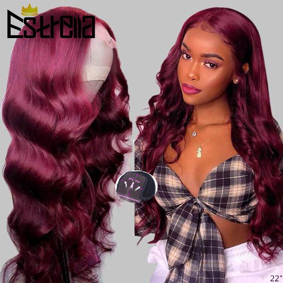 Human Hair #99J wigs 150% Density 4x4Lace Closure Wig Pre plucked with Baby Hair 99J Human Hair Lace Wigs Body Wave Human Hair