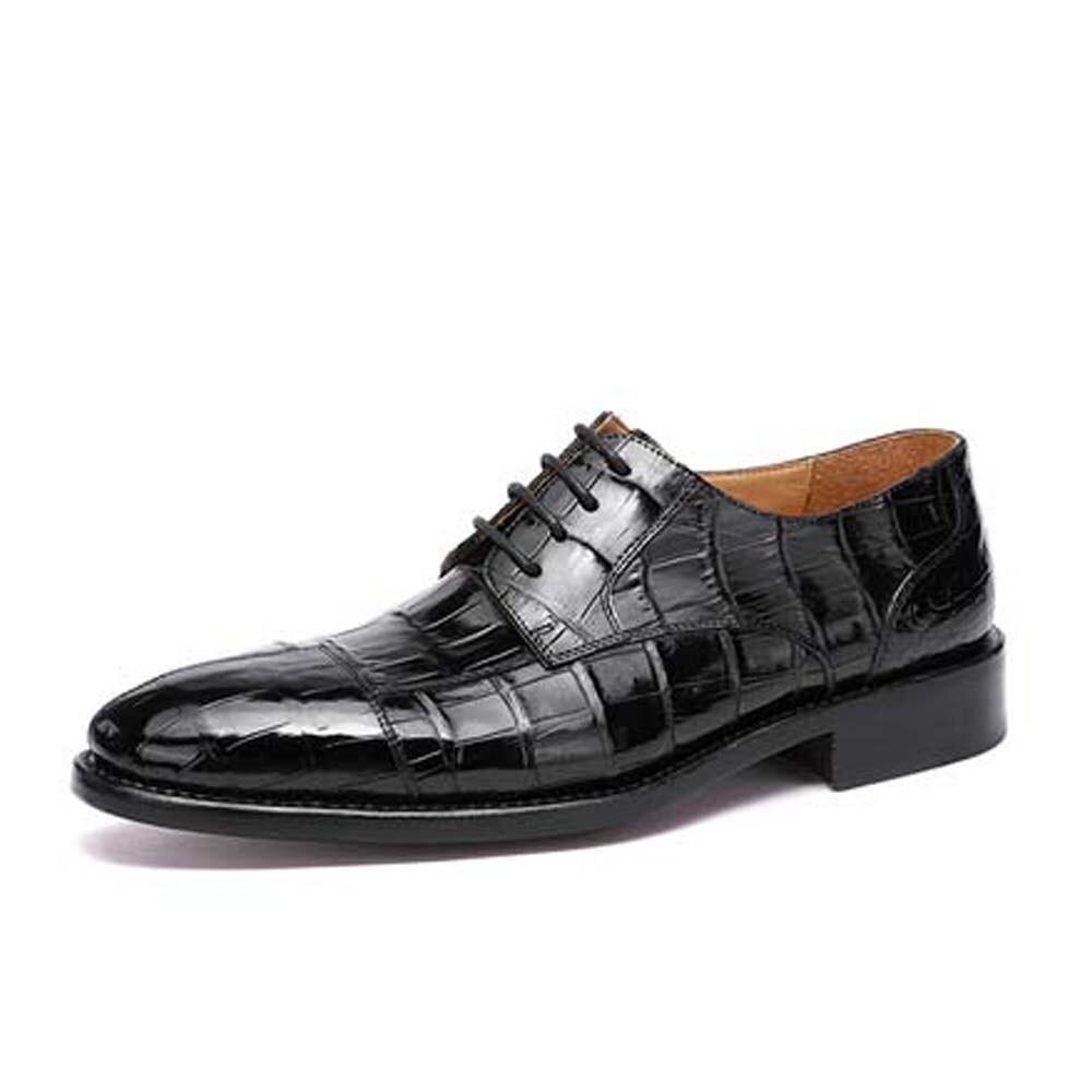 Hulangzhishi جديد جلد التمساح الذكور فستان أحذية الدانتيل متابعة الرجال الأحذية الرسمية رجال الأعمال التمساح الأحذية