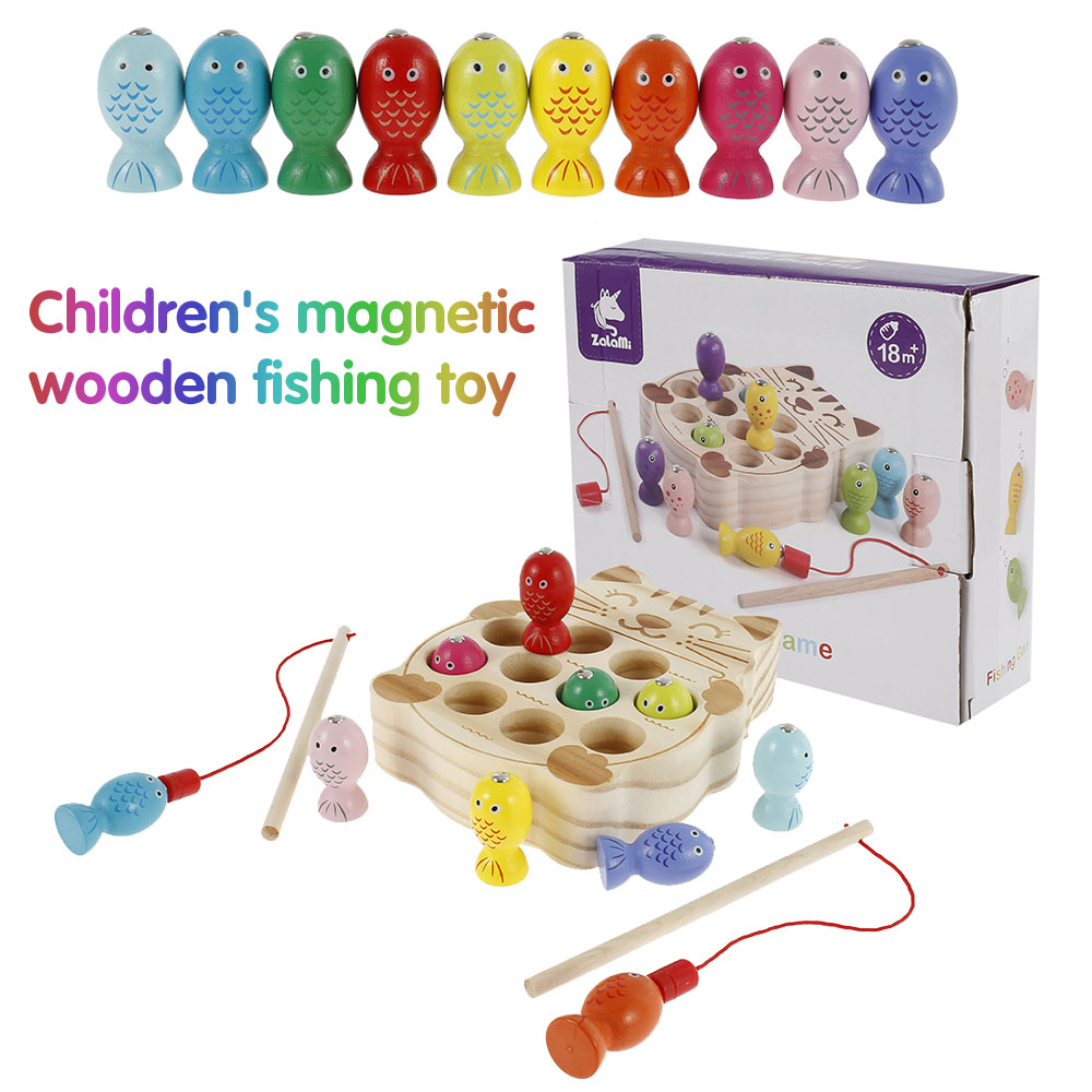Wooden Montessori Toys Childhood Magnetic Fishing Game Cognitive Pairing Blocks Catch Worms Toy