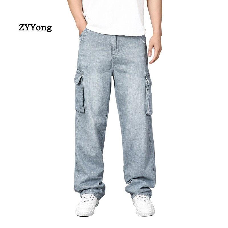 Grande Tamanho dos homens calças de Ganga Largas Retas Multi-bolso Cinza Basculador Hip Hop Streetwear Skate Denim Calças soltas de Largura calças perna