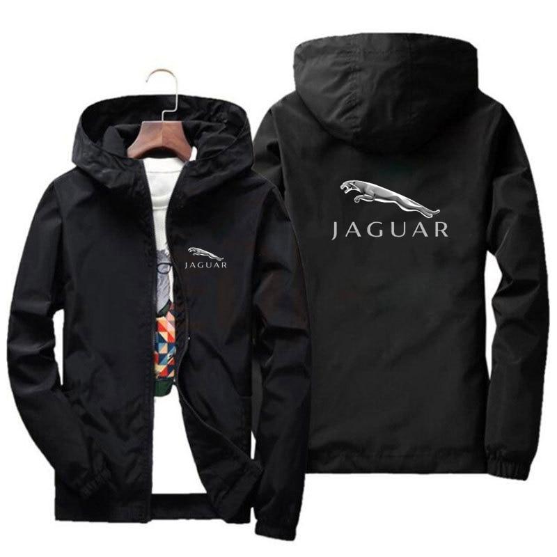 Новинка 2021, Мужская Солнцезащитная куртка Jaguar с капюшоном, модная мужская ветровка, куртка-бомбер с принтом, мужская куртка на молнии