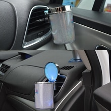 الفضة المحمولة سيارة LED السجائر الدخان منفضة سجائر السيارة LED الجدة الإضاءة دخان منفضة سجائر حامل الكأس تنفيس الهواء