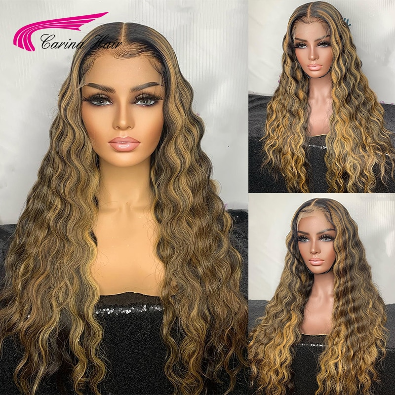 Deep Wave 180% Ombre Blonde Ombre Highlight Lace Front Human Hair Wigs Baby Hair Brazilian Remy Huma