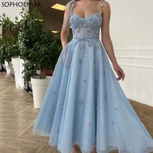 New Arrival Blue Sweetheart Evening Dress Beaded Prom Dress With Straps A Line Party Gowns Robes de soirée