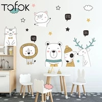 tofok lovely animal plant wall stickers for kids room home door nursery decals living room sofa tv background decoration