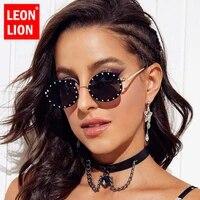 leonlion 2021 round retro sunglasses women diamond glasses women luxury brand eyeglasses women metal gafas de sol para hombre