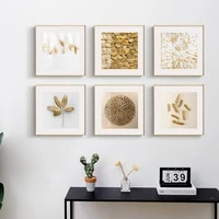 abstract golden leaves wall art beige nordic canvas poster modern square pictures home luxury living room decoration painting