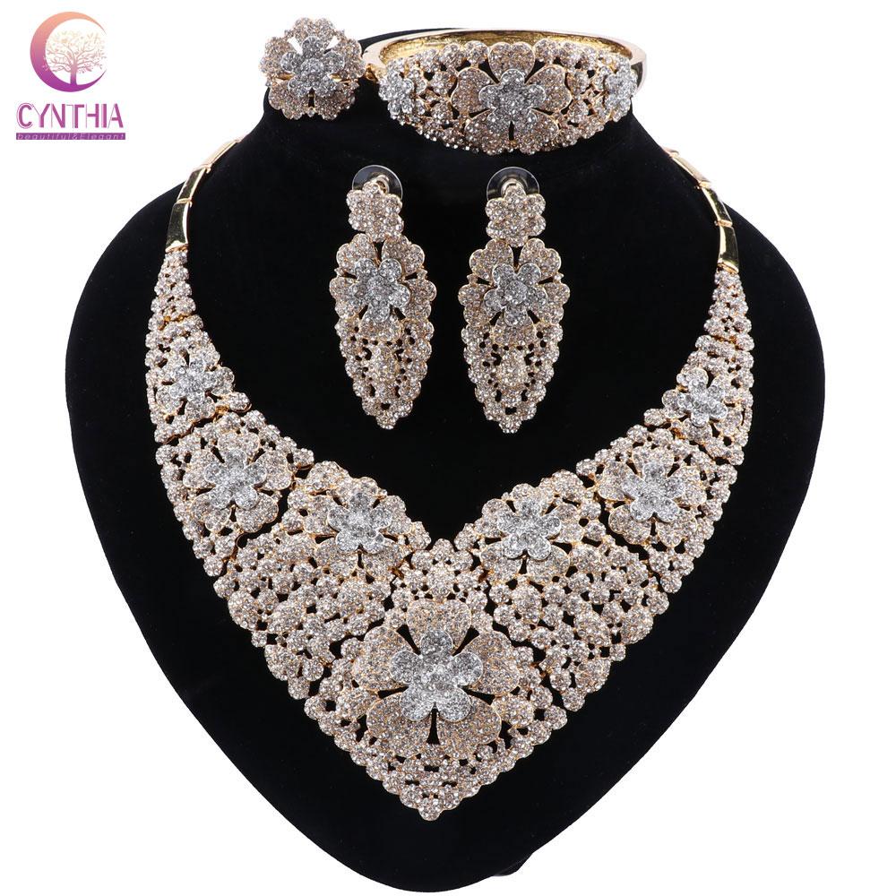 Cynthia conjuntos de jóias de cristal africano para as mulheres conjunto de jóias de casamento de luxo gargantilha colar brincos acessórios de festa