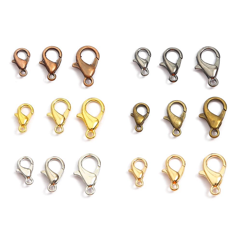 10/12/14/16/18/21mm ródio gun preto metal lagosta fechos ganchos pulseira conectores de extremidade para fazer jóias diy colar fivela