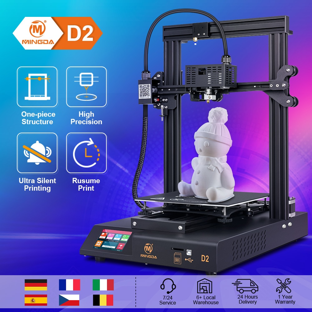 3D Printer Metal 3D Printer Kit 3D Printers 3D Printer ABS/PLA High Precision Direct Extruder TMC2208 Mingda D2 Vs Ender 3 Pro sovol sv02 3d printer with all metal dual extruder silent mainboards tmc2208 drive meanwell power supply 4 3 inch touchscreen 240 x 280 x 300 mm