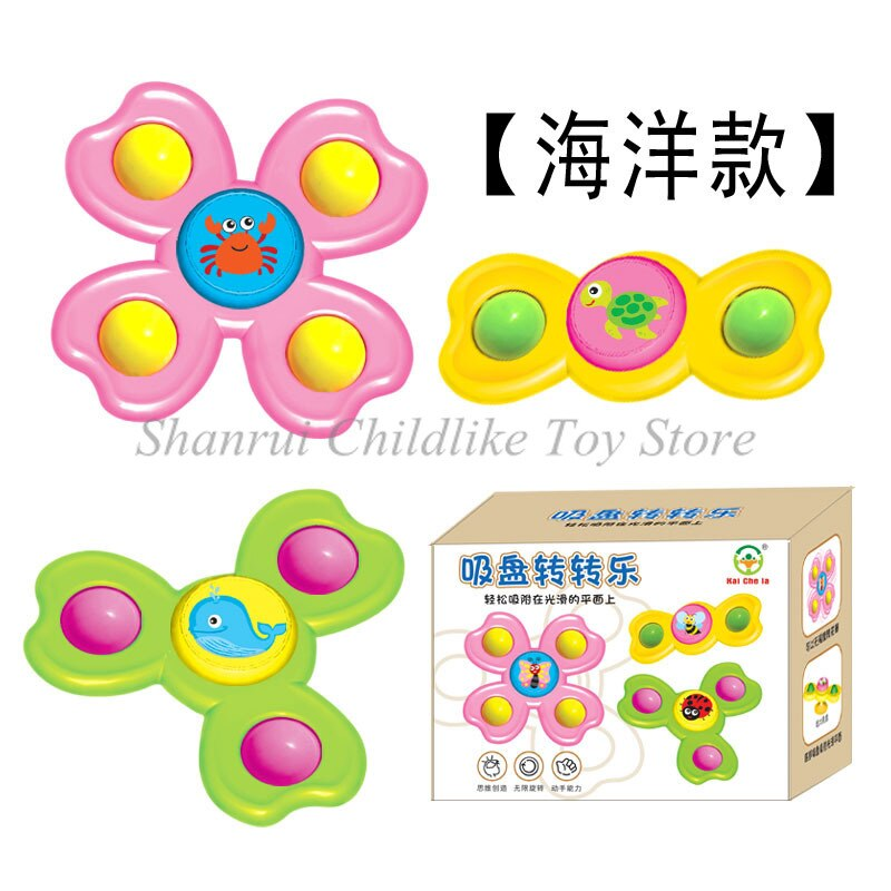 3pcs Children's Fidget Toys Educational Decompression Finger Top Sensory Toy Baby Table Suction Cup Toy Rotating Top enlarge