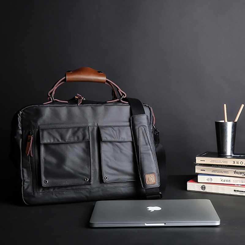 Handbag Men's Business Bag Leisure Simple Retro Single Shoulder Slant Bag Large Capacity Waterproof Canvas Computer Briefcase