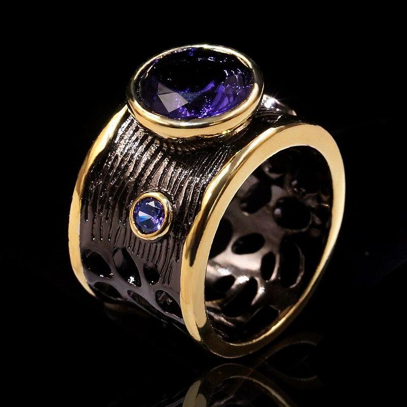 Moonrocy preto roxo anéis estilo gótico cristal festa anel vintage inseto para feminino presente dropshipping jóias atacado
