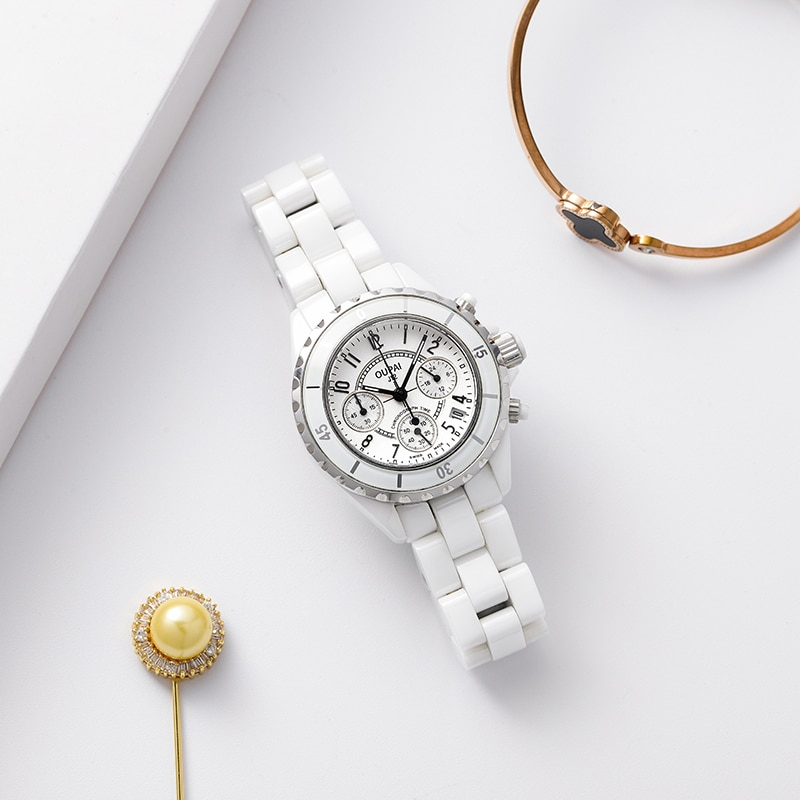 OUPAI 2021 جديد وصول J12 تصميم ساعة سيراميك بيضاء سيدة كرونوغراف وظيفة ساعة رياضية امرأة مقاوم للماء الكوارتز الياقوت