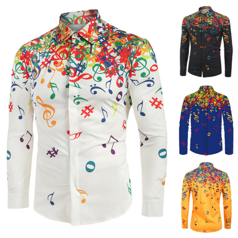 Printed Mens Musical Note  Button Down Casual Long Sleeve Dress Shirt Tops Leisure Fashion Self-cultivation