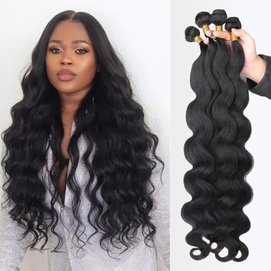 Body Wave bundles human hair Brazilian Natural Black Hair Weave 4 Remy Human hair bundles Deals for