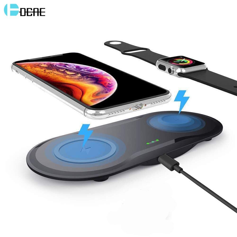 DCAE 2 en 1 cargador inalámbrico para Apple Watch Series 5 4 3 2 Airpods Qi estación de carga rápida 10W para iPhone 11 Pro XS XR X 8