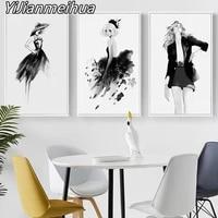 Toile dart mural de fille abstraite en noir et blanc  peinture elegante et mignonne  affiches et imprimes decoratifs pour la maison