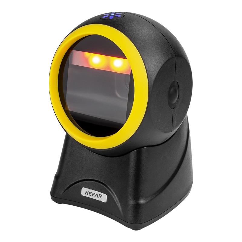KEFAR-ماسح الباركود اللاسلكي ، منصة سوبر ماركت ، بدون استخدام اليدين ، USB ، سطح المكتب ، قارئ باركود أوتوماتيكي متعدد الاتجاهات