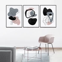 abstract pattern black gray lines poster canvas painting wall art nordic print contracted home decor for living room bedroom