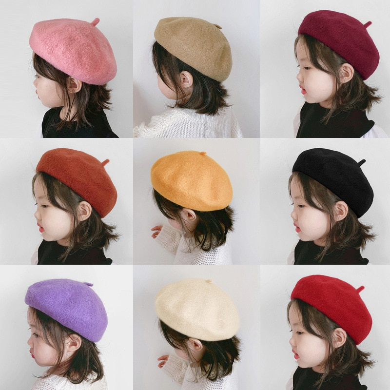 2021 New Fashion Wool Baby Hat for Girls Candy Color Elastic Infant Baby Beret Hat Kids Caps for Gir