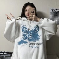 fleece lined hooded fashion coat for women spring autumn 2021 new korean style black butterfly loose thickened gothic top e girl