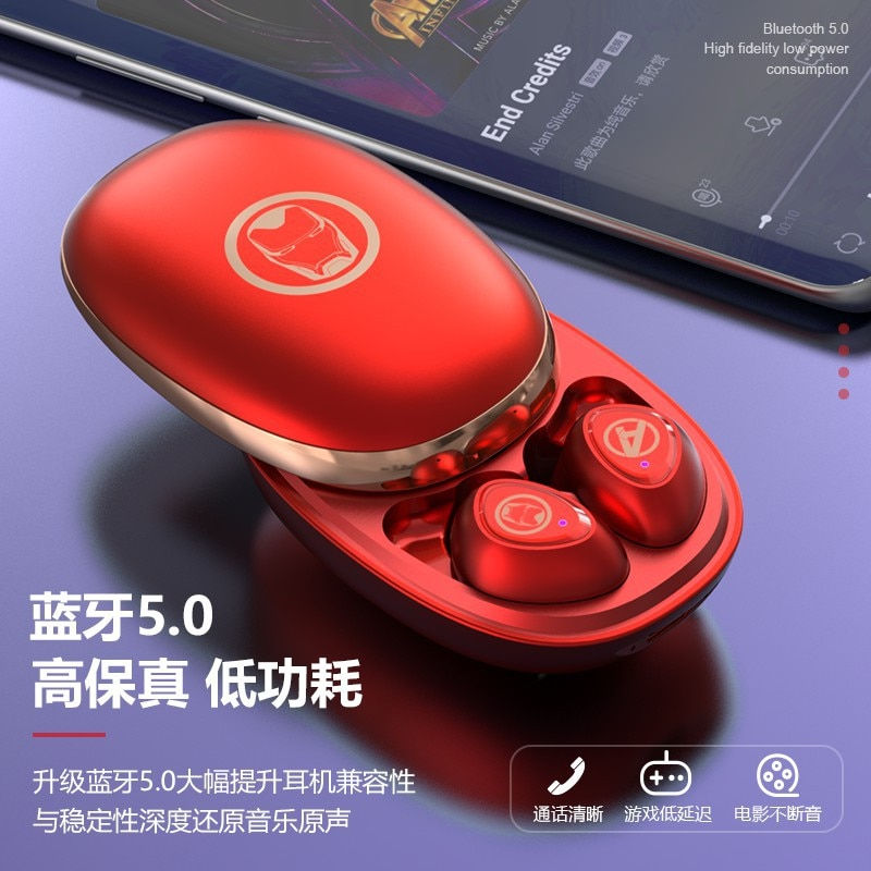 2021 Marvel wireless Bluetooth-compatible headset 5.0Tws charging sports earplug headset music call earbuds headset enlarge