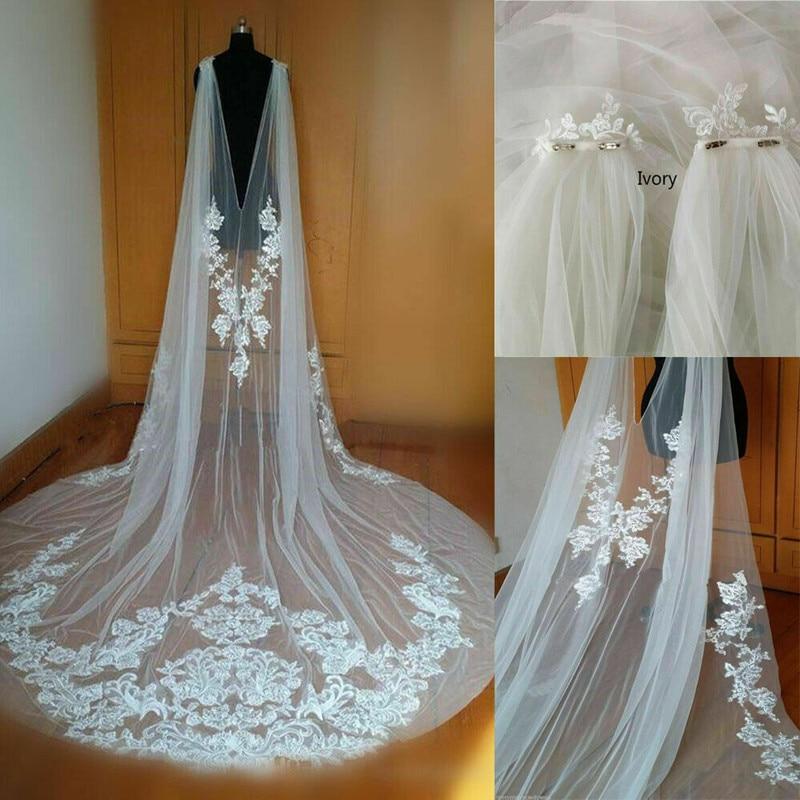 Nueva capa de la boda de longitud de la catedral capa de la chaqueta de novia capa 3M largo de encaje hombro velo de talla grande
