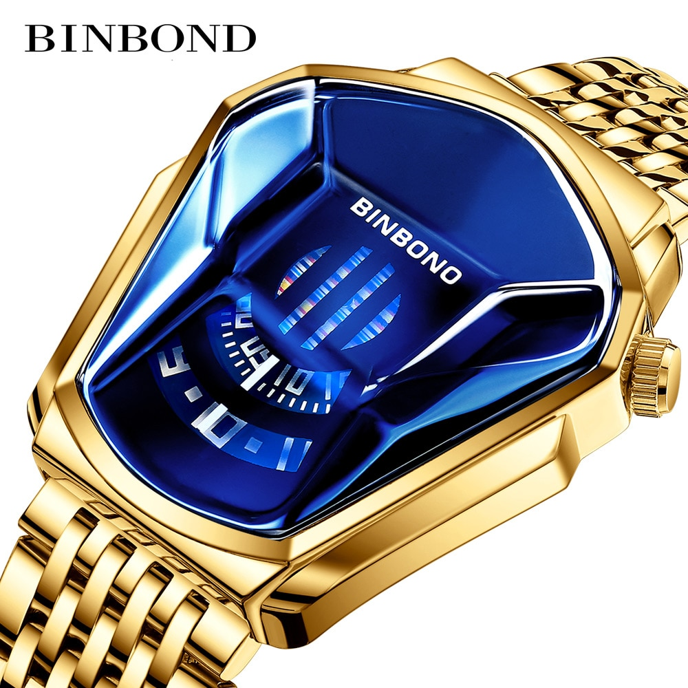 NEW BINBOND  Top Brand Luxury Military Fashion Sport Watch Men Gold Wrist Watches Man Clock Casual Chronograph Wristwatch